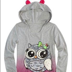 Justice Girls Sparkly Owl Hoodie Shirt